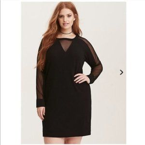 Torrid Black Mesh Insert Sweatshirt Dress
